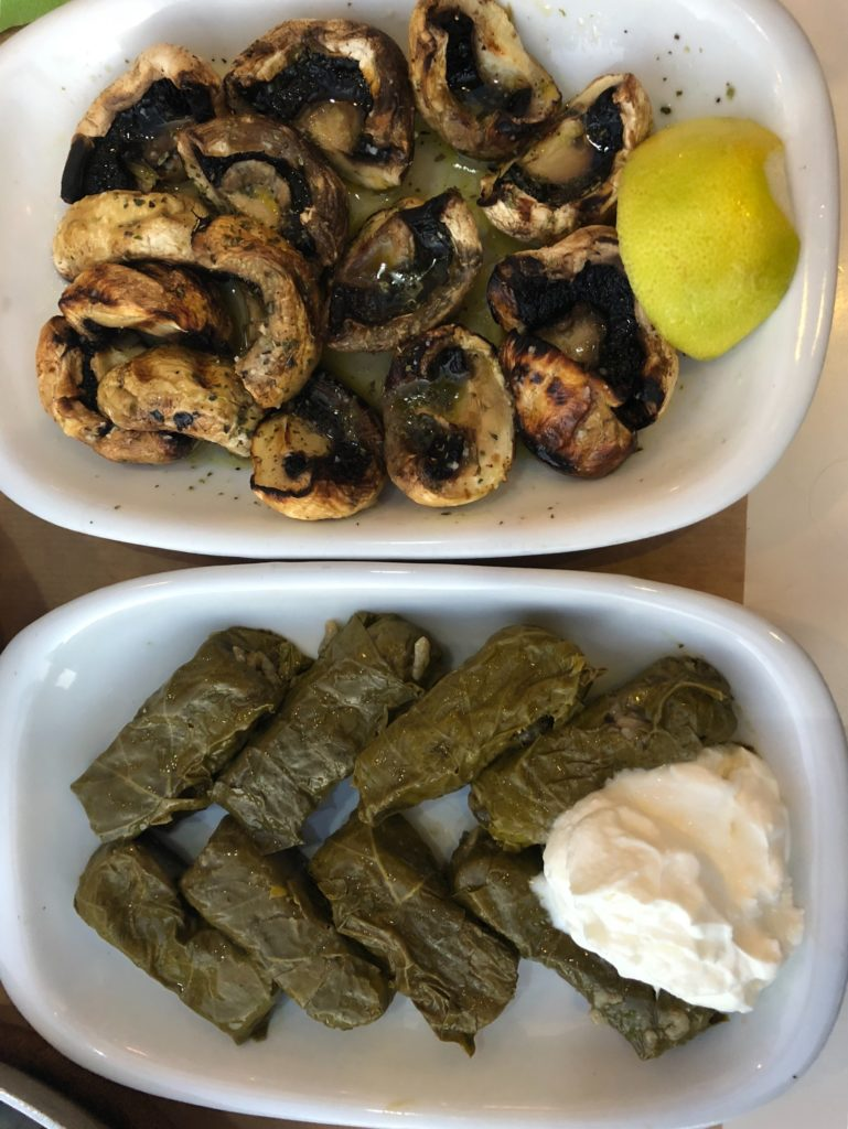 Greek food, Greece food, Greek recipes, vegan Greek food, vegan Greek recipes, vegan tzatziki, vegan, vegetarian meals, vegetarian dishes, greek mushrooms, grilled mushrooms, Dolmades, mushroom recipe, www.carlyknapp.com